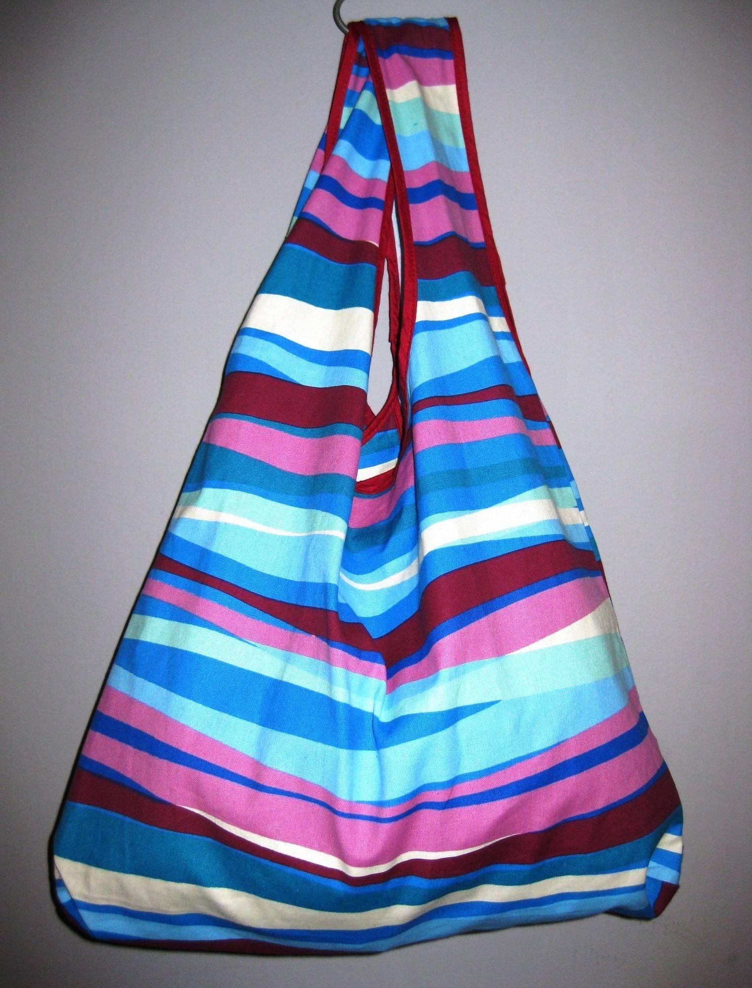 Opvouwbare shopper - Streepjes horizontaal blauw-roze from MoreThanHip
