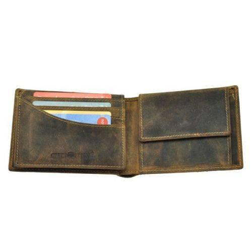 Herenportemonnee van vintage bruin leer met RFID beveiliging Nevada