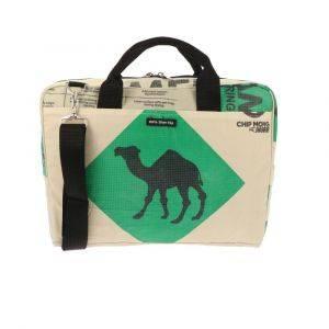 Laptoptas 15,6 inch van gerecyclede cementzakken - Sanuk - kameel groen