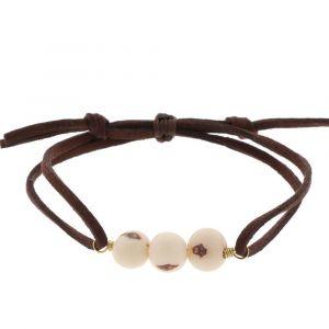 Paulina armband met acai-zaden - crèmewit