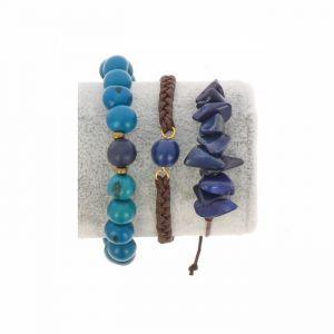 Armbanden set van tagua en acai - Laila blauw