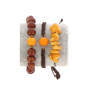 Armbanden set van tagua en acai - Laila oker/bruin