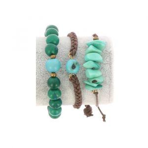 Armbanden set van tagua en acai - Laila groen