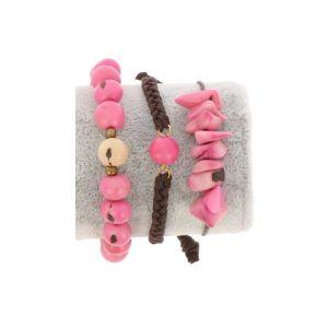 Armbanden set van tagua en acai - Laila roze/crème