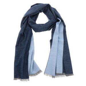 Superzachte brede sjaal of omslagdoek van bamboe WuWen - blauw