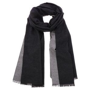 Superzachte brede sjaal of omslagdoek van bamboe WuWen - zwart/grijs
