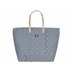 Grote canvas shopper of strandtas - Florida blauw/wit