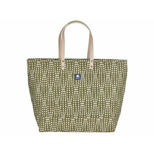 Grote canvas shopper of strandtas - Florida olijfgroen/wit