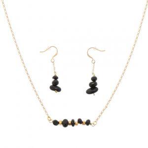Earth - stijlvolle set ketting en oorbellen met zwarte onyx steentjes