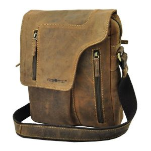 Santa Fé - vintage bruine leren schoudertas met opvallende klep