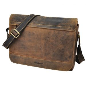 "Dakota - vintage bruine leren messenger bag met 15.6"" laptopvak"