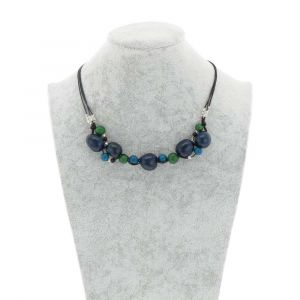 Jennyffer halsketting met chicon en acai zaden - blauw/groen