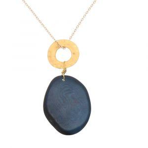 Celeste ketting met hanger van tagua en een goudkleurige ring - blauw