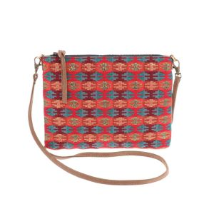 Cross body schoudertasje met ingeweven patroon - Iccha - rood