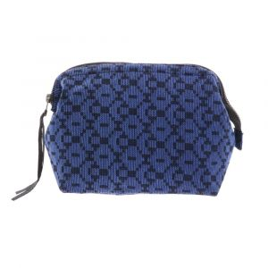 Large makeup purse or small toilet bag of handwoven cotton - Prem grey