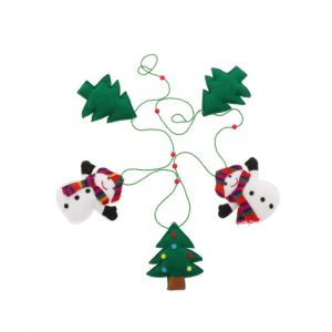 Kerstslinger met sneeuwmannen en kerstbomen van vilt