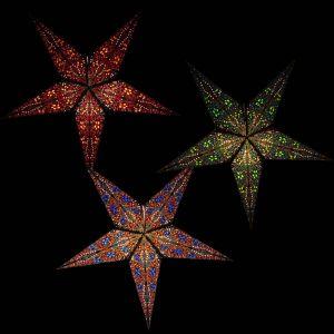 Papieren kerstster kerstlamp Jaipur blauw rood of groen - inclusief verlichtingssnoer, schakelaar en fitting verlicht in donker