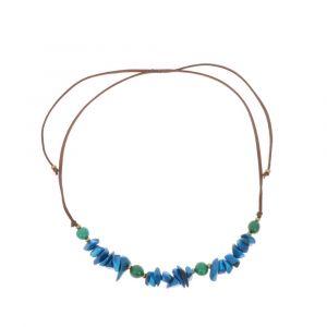 Verstelbare halsketting van tagua en acai - Alicia blauw/groen