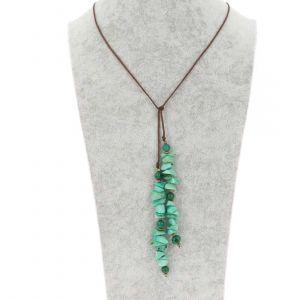 Omslag halsketting van tagua en acai - Natalia groen