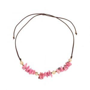Verstelbare halsketting van tagua en acai - Alicia roze/crème