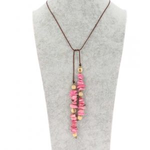 Omslag halsketting van tagua en acai - Natalia roze/crème