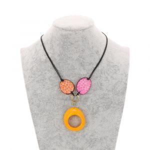Malva- verstelbare ketting van tagua - oranje/roze/geel