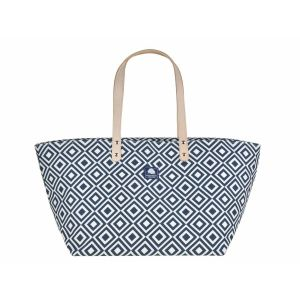 Medium canvas shopper of strandtas - Daytona blauw/wit