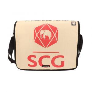 Ruime schoudertas van gerecyclede cementzakken - Sunay - olifant