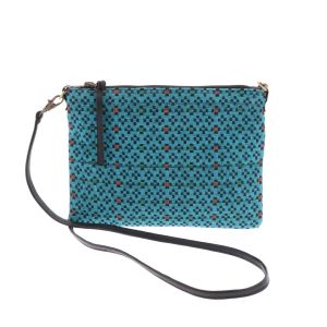Cross body schoudertasje met ingeweven patroon - Iccha - turquoise