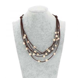 Paulina 5-string halsketting met acai-zaden - crèmewit