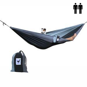 2 persoons (reis)hangmat Shades of grey - zwart met 2 kleuren grijs