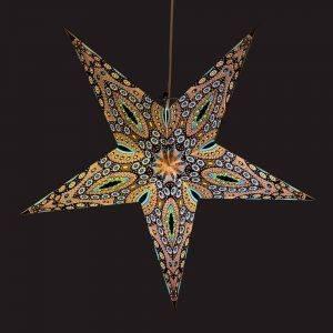 Papieren kerstster Ø60 cm Raja- incl. verlichtingsset-blauw