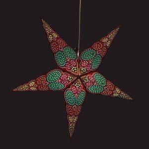 Papieren kerstster Ø60 cm Goa - incl. verlichtingsset-multicolour/groen