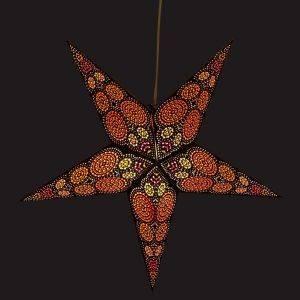 Papieren kerstster Ø60 cm Goa - incl. verlichtingsset-zwart/oranje/geel