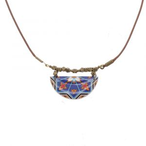 Ketting met handgemaakt kleurrijk mozaïek-tegeltje - Aryana