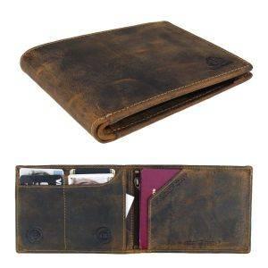 paspoort- of reis portemonnee van plantaardig gelooid bruin vintage leer