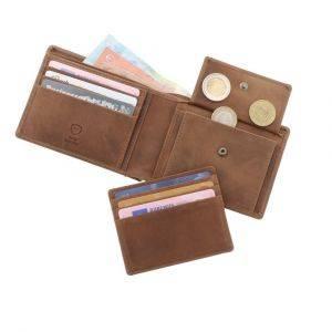 RFID ecoleren herenportemonnee - Luton bruin vintage