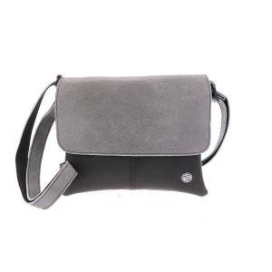 crossbody of schoudertasje van gerecyclede autoband en ecoleer grijs