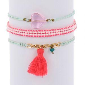 Ibiza inspired armbanden set met glaskraaltjes - blauw roze