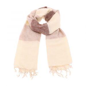 Pina - brede 'yakwol' sjaal of omslagdoek - bruin/creme gestreept