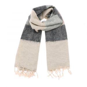 Pina - brede 'yakwol' sjaal of omslagdoek - grijs gestreept