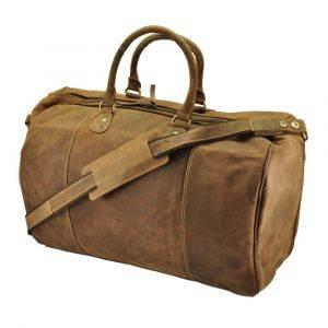 Topeka - ruime reistas/sporttas van vintage bruin ecoleer