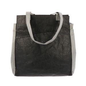 Lichtgewicht Tyvek© shopper tas met rits Fiona- zwart/grijs