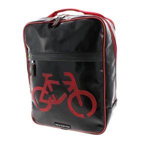 Zwarte rugtas met rode fiets van gerecycled vrachtwagenzeil