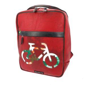 Rode rugtas met fiets van gerecycled vrachtwagenzeil