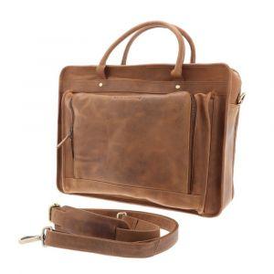 Aktetas met 15,6inch laptopvak - bruin vintage ecoleer