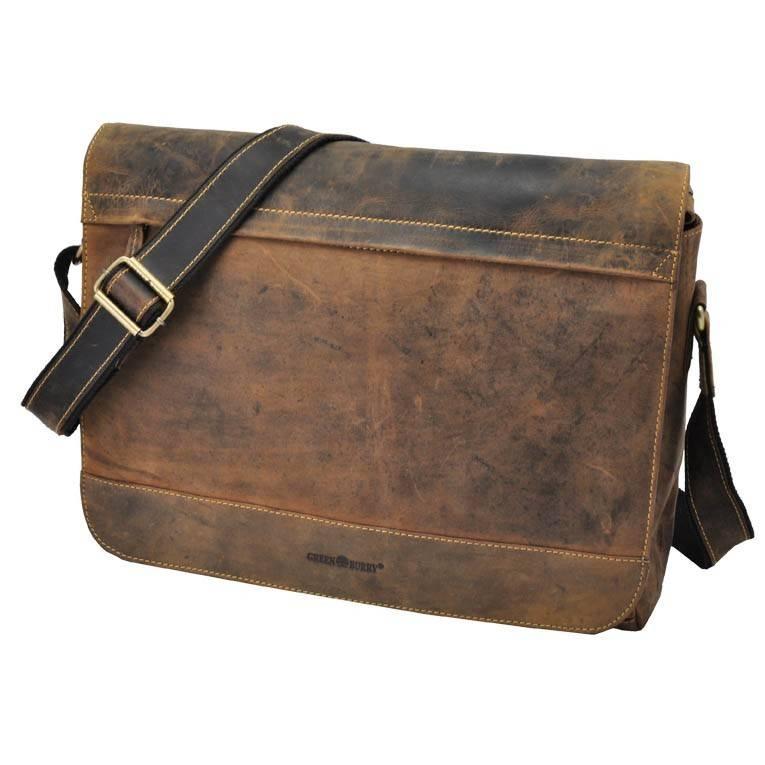 """Vintage bruine leren messenger bag met 14"""" laptopvak - Dakota from MoreThanHip"""