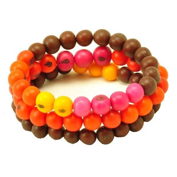 Perlas - set 3 armbanden van acai - bruin/oranje/roze from MoreThanHip